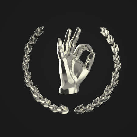 1st place: golden human hand showing OK gesture, surrounded by golden laurel wreath, isolated on black background 3d rendering 1st place