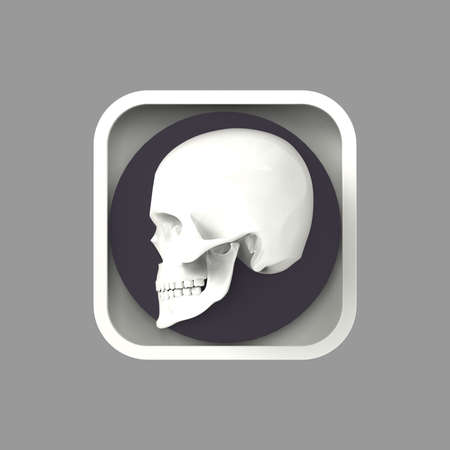 square button: shiny metal skull on rough metal rounded rectangle application icon. High resolution 3d rendering gaming, program button user interface element