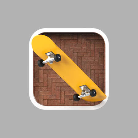 sports application: skateboard on rounded square realistic high resolution render. user interface icon for sports, urban, extreme application
