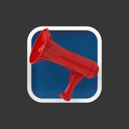 amplify: Glossy golden modern megaphone on rounded square background. Application icon for messenger, advertisement, reclaim, sound editor program.