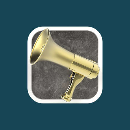 messenger: Glossy golden modern megaphone on rounded square background. Application icon for messenger, advertisement, reclaim, sound editor program.