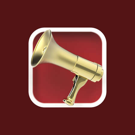 editor: Glossy golden modern megaphone on rounded square background. Application icon for messenger, advertisement, reclaim, sound editor program.