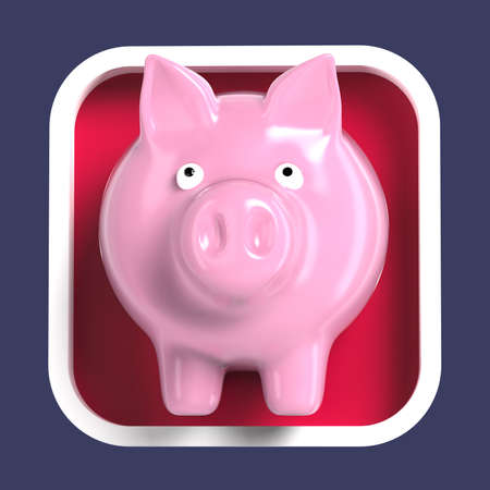 keeper: Shiny pink plastic piggy bank on rounded square background. Application icon for banking finance, money keeper, cash, currency program.