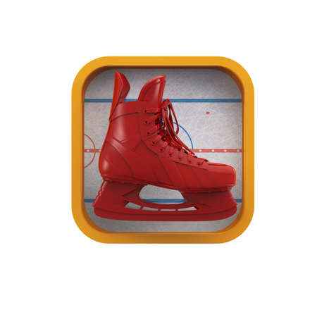 sports application: shiny realictic ice skate on stylized skating rink rounded square background.High resolution 3d render application icon for sports, gaming, bookmaker app. user interface element