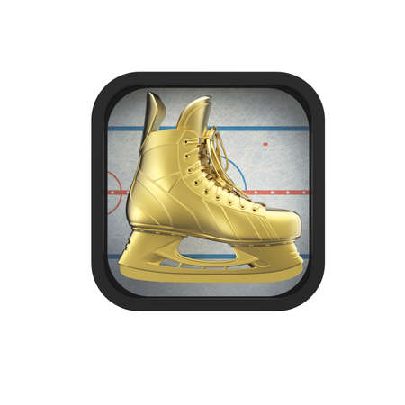 sport icon: shiny realictic ice skate on stylized skating rink rounded square background.High resolution 3d render application icon for sports, gaming, bookmaker app. user interface element