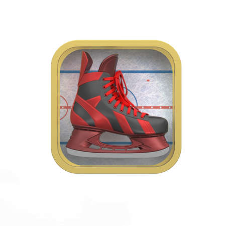 skating rink: shiny realictic ice skate on stylized skating rink rounded square background.High resolution 3d render application icon for sports, gaming, bookmaker app. user interface element