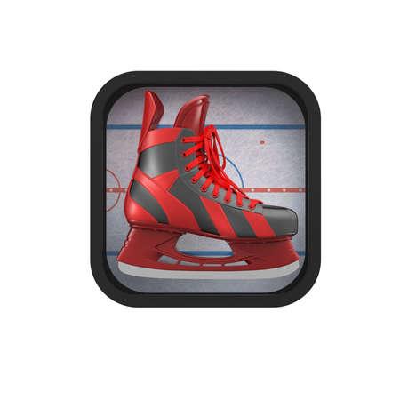 symbol sport: gl�nzenden Realictic Schlittschuh auf stilisierte Eisbahn abgerundetes Quadrat background.High Aufl�sung 3D-Anwendung Symbol f�r Sport, Spiele, Macher App machen. Element der Benutzeroberfl�che
