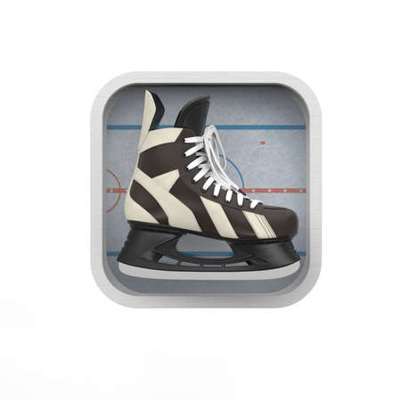 winter sport: shiny realictic ice skate on stylized skating rink rounded square background.High resolution 3d render application icon for sports, gaming, bookmaker app. user interface element