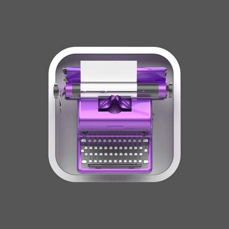 square sheet: shiny vintage typewriter with sheet of paper on rounded square background. High resolution 3d render application icon for text editor, messenger copywriting storytelling user interface element Stock Photo