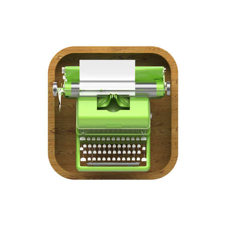 messenger: shiny vintage typewriter with sheet of paper on rounded square background. High resolution 3d render application icon for text editor, messenger copywriting storytelling user interface element Stock Photo
