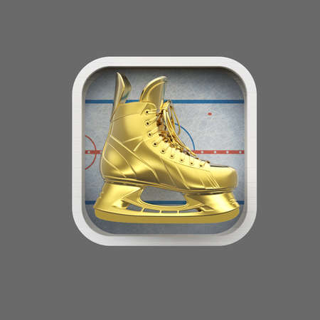 realictic: shiny realictic ice skate on stylized skating rink rounded square background.High resolution 3d render application icon for sports, gaming, bookmaker app. user interface element