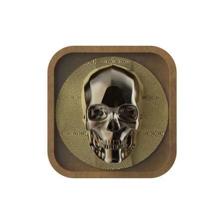 rectangle button: shiny metal skull on rough metal rounded rectangle application icon. High resolution 3d rendering gaming, program button user interface element