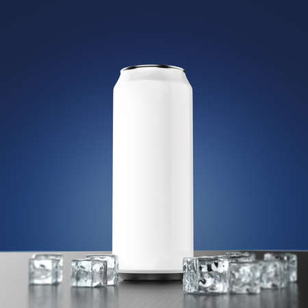drink can: blank silver metal energy drink can mock-up with ice cubes standing on the polished carbon fiber floor 3d render, Beverage design presentation template