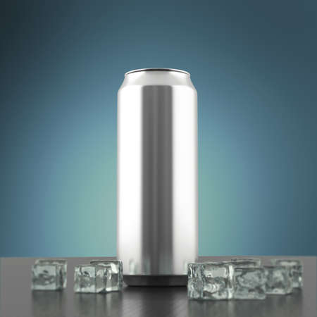 energy drink: blank silver metal energy drink can mock-up with ice cubes standing on the polished carbon fiber floor 3d render, Beverage design presentation template