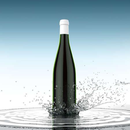 Wine blank bottle without label on colored background water splash 3d render, Beverage design presentation template Stock Photo