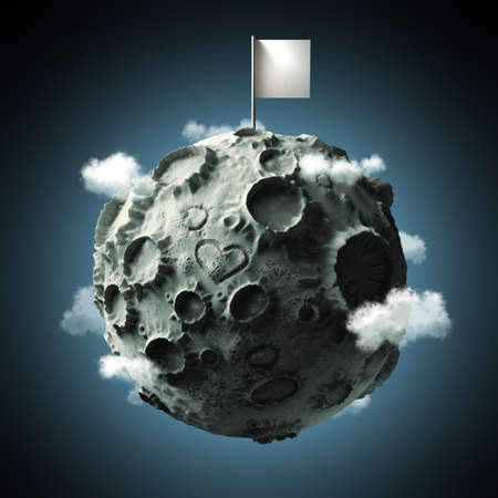 craters: Moon with craters and heart scratched on surface and blank flag on top. High quality 3d rendering. Isolated.