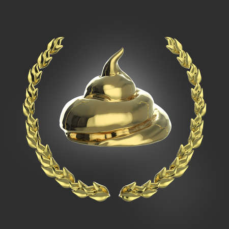 Glossy golden piece of shit surrounded with golden laurel wreath isolated on dark background 3d badge