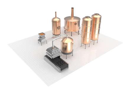filtration: proceso de fabricaci�n de la cerveza, cerveza de producci�n, la producci�n de cerveza - la preparaci�n, la cocci�n del mosto, la fermentaci�n, filtraci�n. infograf�a representaci�n 3D