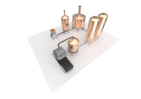 filtraci�n: proceso de fabricaci�n de la cerveza, cerveza de producci�n, la producci�n de cerveza - la preparaci�n, la cocci�n del mosto, la fermentaci�n, filtraci�n. infograf�a representaci�n 3D