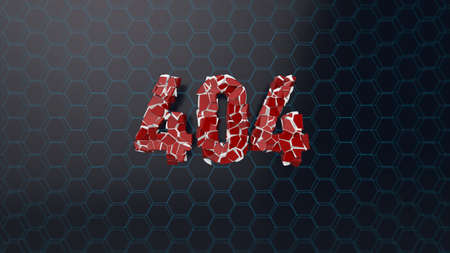 page not found: 404 page not found error screen abstract 3d render with shattered glassy text.
