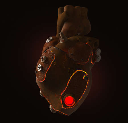 artificial lights: rusty steampunk metal techno human heart, burning from the inside, isolated on dark background. Stock Photo