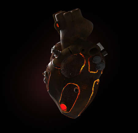 rusty steampunk metal techno human heart, burning from the inside, isolated on dark background.