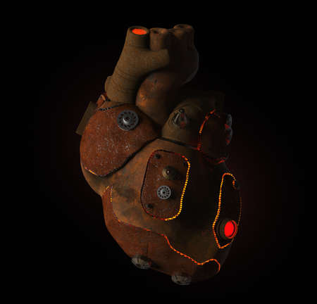 rusty: rusty steampunk metal techno human heart, burning from the inside, isolated on dark background. Stock Photo