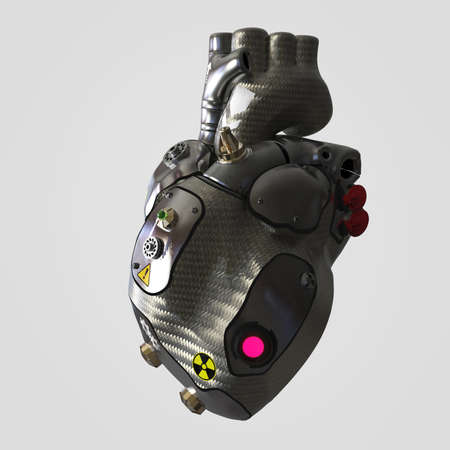 warning signs: Dark metal with metal plates cyborg techno heart with  warning signs, 3d render isolated