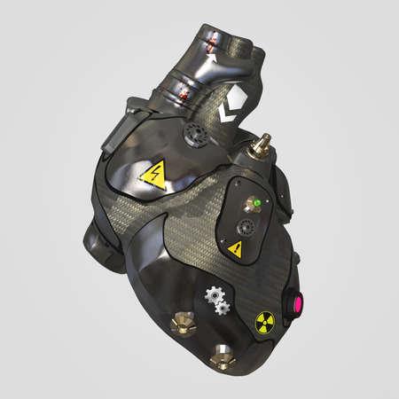 signos de precaucion: metal oscuro con el corazón placas de metal cyborg techno con señales de advertencia, 3d aislado Foto de archivo