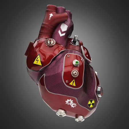 pintura del coche corazón robot torno a la tecno púrpura y rojo con señales de advertencia