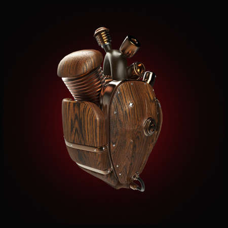 Steampunk mecha robot techno heart. engine with pipes, radiators and wooden hood parts. bike show rock hardcore poster template isolated Stock Photo