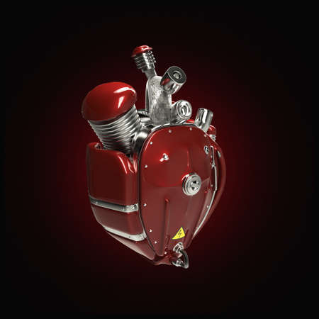 metal parts: Diesel punk robot techno heart. engine with pipes, radiators and gloss red metal hood parts. bike show rock hardcore poster template isolated