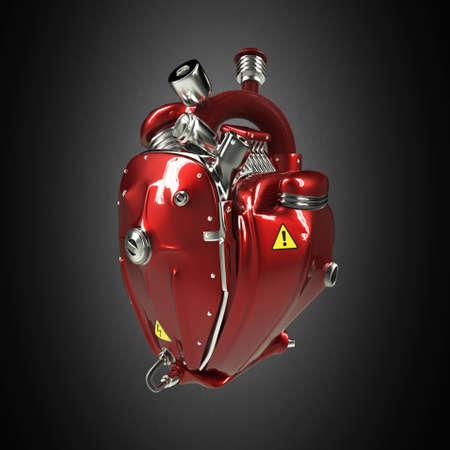 Diesel punk robot techno hart. motor met pijpen, radiatoren en glans rode metalen kap delen. geïsoleerd fietsbeurs rots hardcore affichemalplaatje