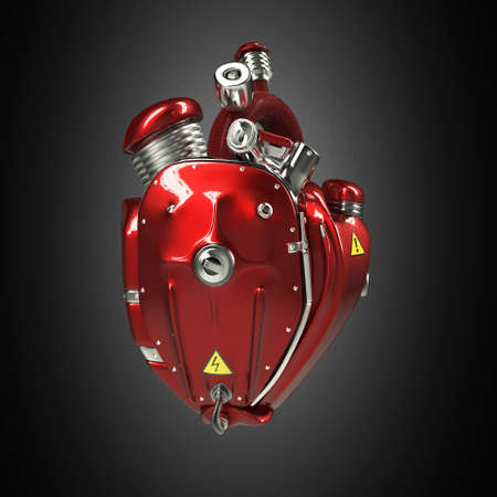 Diesel punk robot techno heart. engine with pipes, radiators and gloss red metal hood parts. bike show rock hardcore poster template isolated