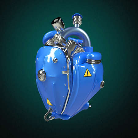 hardcore: Diesel punk robot techno heart. engine with pipes, radiators and glossy blue metal hood parts. bike show rock hardcore poster template isolated