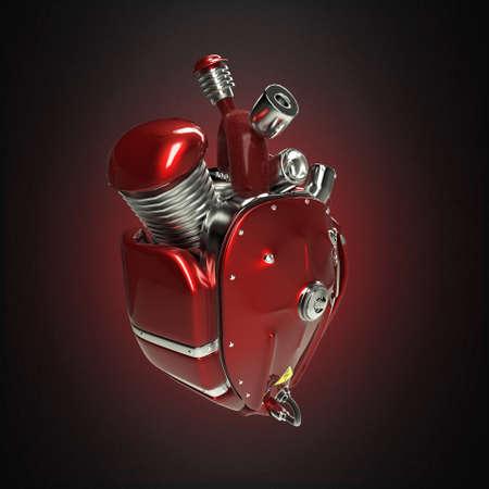 Diesel punk cuore robot techno. motore con tubi, radiatori e la brillantezza del metallo rosso parti cappuccio. Bike Show roccia modello di manifesto Hardcore isolato