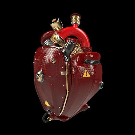 Diesel punk robot techno hart. motor met pijpen, radiatoren en glanzend rood carbon motorkap onderdelen. geïsoleerd fietsbeurs rots hardcore affichemalplaatje
