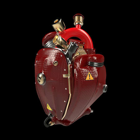 Diesel punk robot techno heart. engine with pipes, radiators and glossy red carbon hood parts. bike show rock hardcore poster template isolated