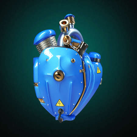 Diesel punk robot techno heart. engine with pipes, radiators and glossy blue metal hood parts. bike show rock hardcore poster template isolated