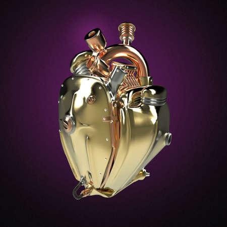 Diesel punk cuore robot techno. motore con tubi, radiatori e metallo dorato parti cappuccio lucide. Bike Show roccia modello di manifesto Hardcore isolato