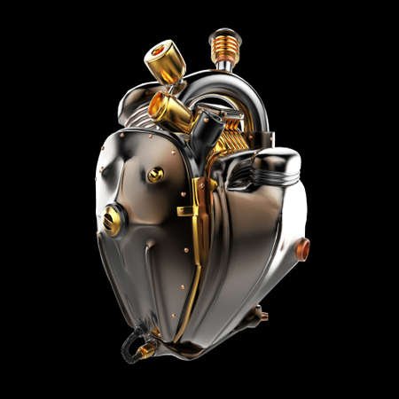 Diesel punk robot techno heart. engine with pipes, radiators and glossy dark bronze metal hood parts. bike show rock hardcore poster template isolated Stok Fotoğraf