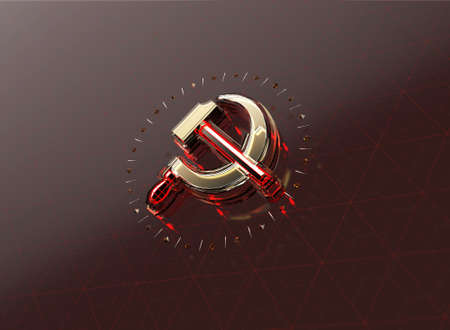 fractures: golden hammer and sickle with fractures and glowing edges on high tech dark red background. News Id style background, political template. High quality 3d render. Stock Photo