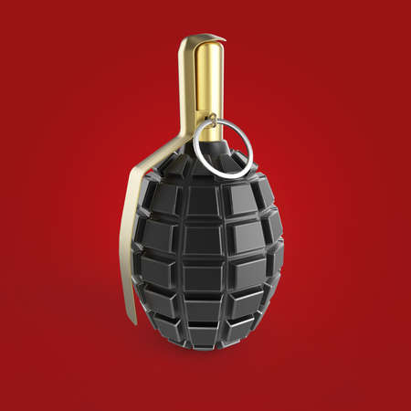 granade: dark green and black metal hand grenade isolated on red background 3d render