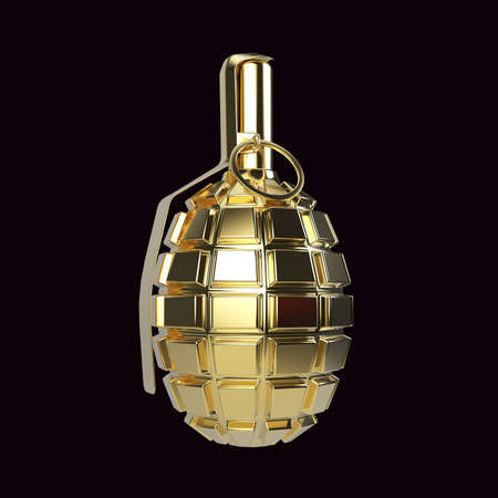 granade: Golden glossy metal hand grenade isolated on red background 3d render