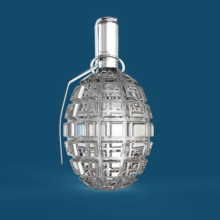 granade: Transparent crystal diamond hand grenade isolated on red background 3d render