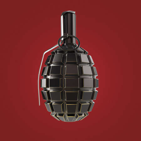 detonator: dark green and black metal hand grenade isolated on red background 3d render