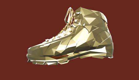 precious metal: precious metal sports shoes, low poly sneakers with hard edges and shiny faces. Sports fitness achievement metaphor. Isolated 3d rendering.