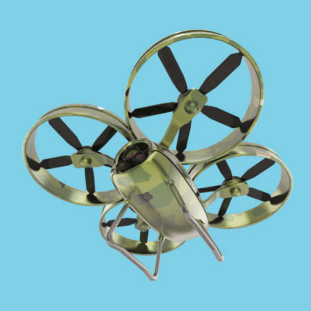 impeller: one military quadrocopter drone with  camera, camouflage paint isolated 3d render Stock Photo