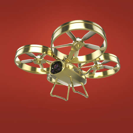 remote view: one golden quadrocopter drone with  camera, glossy pracious metal isolated 3d render