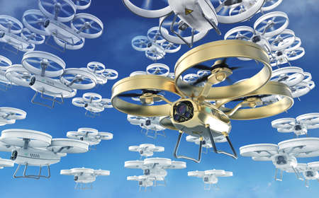 swarm: big swarm of white and one golden in front quad copter drones  flying in the sky. 3d render